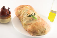 Ciabatta Brot und Olivenöl Stockfotografie