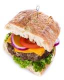 Ciabatta Burger isolated on white Stock Images