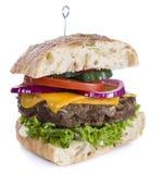 Ciabatta Burger isolated on white Stock Image