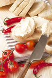 Ciabatta with cheese cream Stock Image
