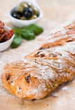 Ciabatta with dried Tomatoes Royalty Free Stock Photos