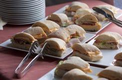 Ciabatta fresh sandwiches. Ciabatta sandwiches with cheese, ham and cucumber Royalty Free Stock Photo