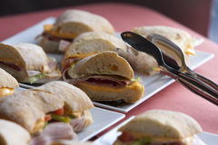 Ciabatta fresh sandwiches. Ciabatta sandwiches with cheese, ham and cucumber Stock Images