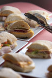 Ciabatta fresh sandwiches. Ciabatta sandwiches with cheese, ham and cucumber Stock Image