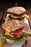 Ciabatta hamburger Obrazy Stock