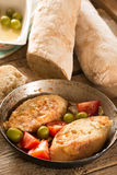 Ciabatta italiana casalinga crostosa Fotografie Stock