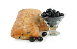 Ciabatta with olives. In a glass on a white background Stock Image