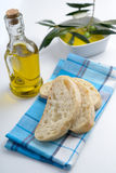 Ciabatta and olives in olive oil Stock Images