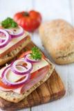 Ciabatta open sandwiches Stock Afbeelding