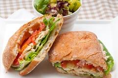 Ciabatta panini sandwich with chicken and tomato Royalty Free Stock Photo