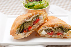 Ciabatta panini sandwichwith vegetable and feta Royalty Free Stock Images