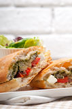 Ciabatta panini sandwichwith vegetable and feta Stock Photography