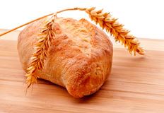 Ciabatta roll and wheat ears Royalty Free Stock Image
