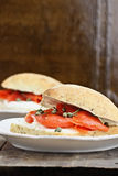 Ciabatta with Salmon and Cream Cheese Stock Images