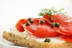 Ciabatta with Salmon, Cream Cheese and Capers Royalty Free Stock Photos