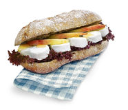 Ciabatta sandwich cheese with clipping path royalty free stock photo
