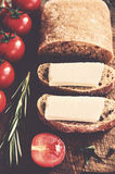 Ciabatta sandwich with goat cheese and tomatoes Stock Image