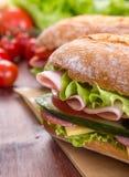 Ciabatta Sandwich with ham Stock Photo