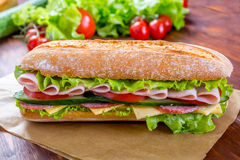 Ciabatta Sandwich with ham and salami Stock Photos