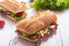 Ciabatta sandwich with lettuce stock photo