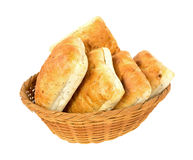 Ciabatta sandwich rolls in a wicker basket Stock Photography