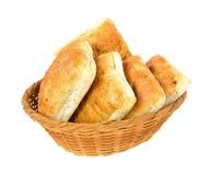 Ciabatta sandwich rolls in a wicker basket Stock Photography