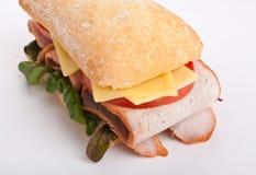 Ciabatta sandwich stuffed with meat Stock Photo