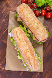 Ciabatta Sandwiches with Ham and veg Royalty Free Stock Photo