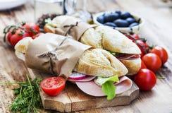 Ciabatta Sandwiches with Mortadella Ham, Lettuce and Radish Slic Stock Photography