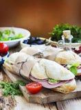 Ciabatta Sandwiches with Mortadella Ham, Lettuce and Radish Slic Stock Image
