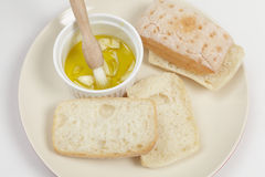 Ciabatta sliced with garlic oil Stock Images