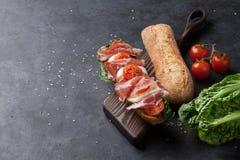 Ciabatta smörgås arkivbild