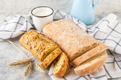 Ciabatta and small baguette with ears Stock Images