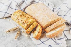 Ciabatta and small baguette with ears Stock Photo