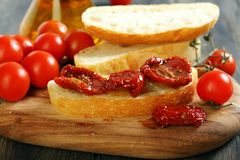 Ciabatta with sun dried tomatoes. Stock Photos
