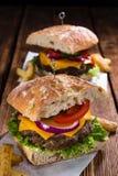 Ciabattahamburger Stock Afbeeldingen