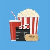 Ciac e popcorn e film del biglietto illustrazione di stock