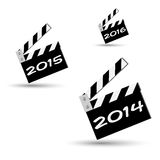 2014 ciak. Three clapper board ciak regarding new year Stock Photography