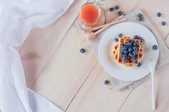 Cialde belghe con i mirtilli sulla tavola di legno leggera Prima colazione sana Fotografie Stock