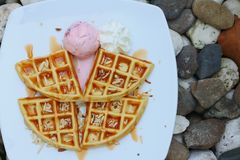 Cialde con il gelato su un piatto bianco Immagini Stock Libere da Diritti