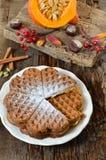 Cialde del Belgio con la zucca Cialde di Autumn Belgium Immagine Stock Libera da Diritti