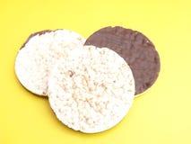 Cialde del riso con cioccolato Fotografia Stock