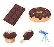 Ciambella con cioccolato, zskimo, mattonelle di shokolpada, biscotto I dessert del cioccolato hanno messo le icone della raccolta Immagini Stock