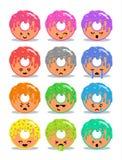 Ciambella con l'insieme della glassa delle espressioni facciali di emoji Immagini Stock