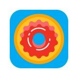 Ciambella della ciambella con l'icona piana di colore della glassa di rosa illustrazione di stock