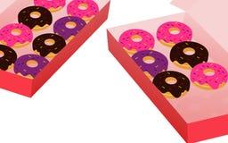Ciambella di stile del fumetto in scatola su fondo bianco Fotografie Stock Libere da Diritti