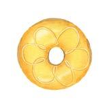 Ciambella gialla dell'acquerello isolata su fondo bianco illustrazione di stock