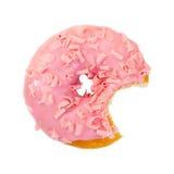 Ciambella pungente della fragola con di pepita di cioccolato rosa Fotografia Stock