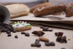 Ciambellina salata del dolce del primo piano di marrone del forno dell'alimento del pane Fotografia Stock Libera da Diritti