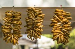 Ciambelline salate su una corda Immagini Stock Libere da Diritti